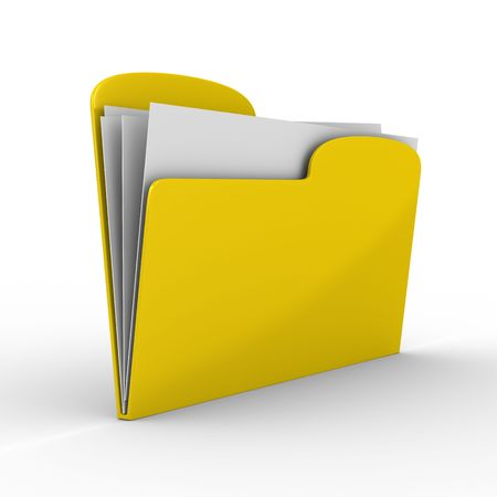 reservation: Yellow computer folder on white background. Isolated 3d image