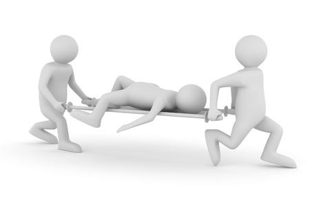 paciente en camilla: Asistentes del hospital transfieren a paciente en camilla. Imagen aislados 3D Foto de archivo