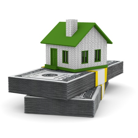 loans: Small house and cash on white background. Isolated 3D image