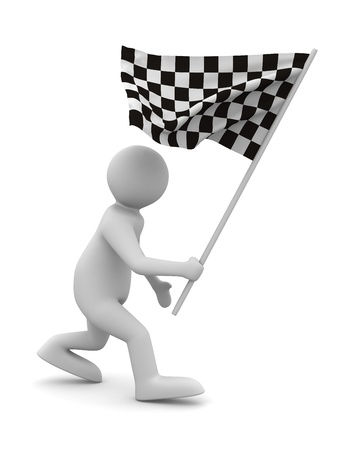 chequer: man with flag on white background. Isolated 3D image