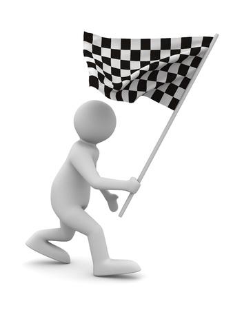 arbitrator: uomo con bandiera su sfondo bianco. Immagine 3D isolato