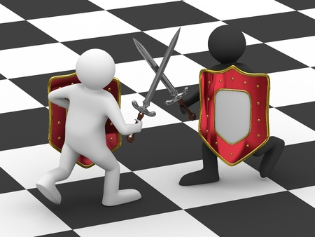 knightly: Fight on swords. Isolated 3D image on white background