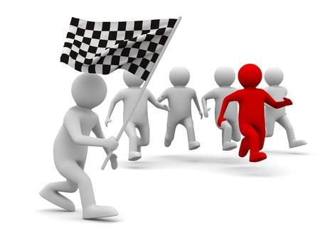 start of race: hombre con bandera sobre fondo blanco. Imagen aislados 3D