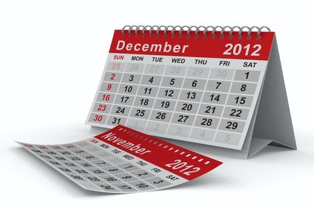 december kalender: 2012 jaar kalender. December. Geà ¯ soleerde 3D beeld