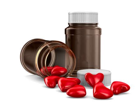pill box: Two bottle and hearts on white background. Isolated 3D image
