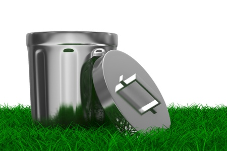 worthless: Garbage basket on grass  Isolated 3D image Stock Photo