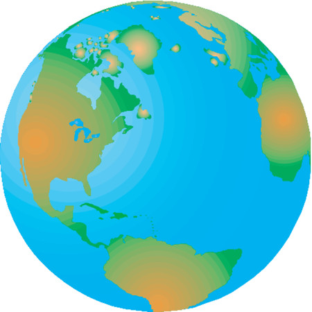 Vector map of the world on the globe Stock Vector - 514912