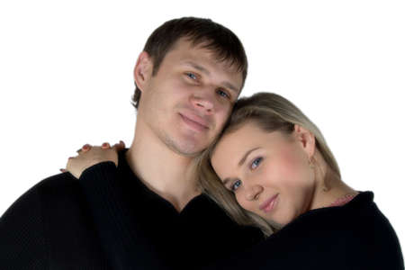 enamoured: Enamoured man and the woman. The isolated portrait on a white background. Stock Photo