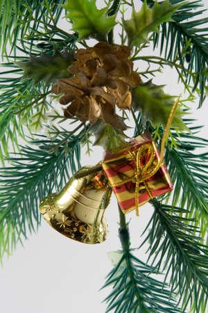 handbell: Christmas ornaments. branch, box, handbell, ball.