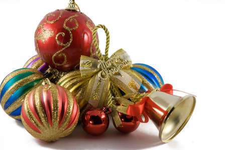 christmas spheres in a tinsel on a white background Stock Photo - 625052