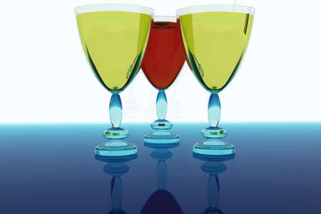 Three glasses with wine. 3D the image. photo