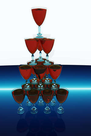 Pyramid from glasses with wine. 3D the image. photo