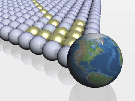ray tracing: The globe among spheres. 3d the image.