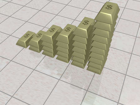 The schedule from gold ingots. the 3D image. Stock Photo - 708487