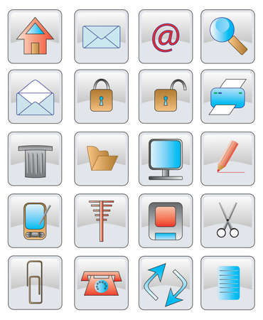 buttom: the web icon. vector image. 20 buttom. Stock Photo
