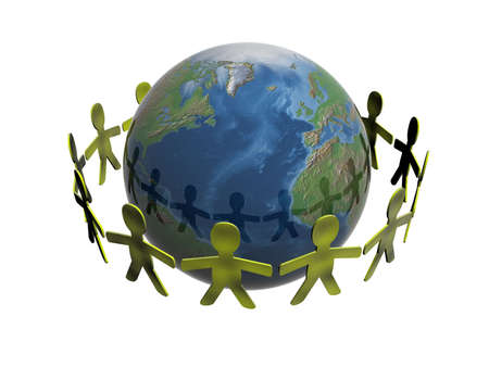 People keeping for hands in a circle of a planet photo