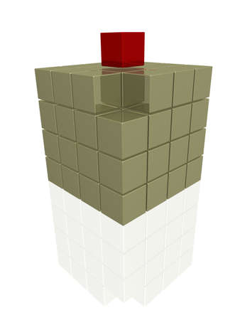 One individual red cube on gold boxes Stock Photo - 888816