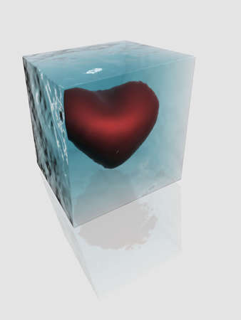 The frozen heart in a piece of an ice Stock Photo - 901789