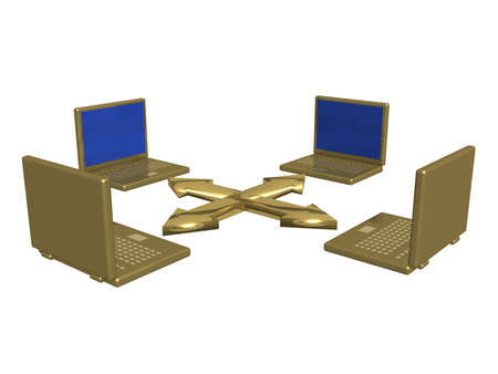 intranet: Computer network from laptops. 3d image.
