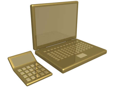 Office calculator and laptop on white a background. 3d image photo
