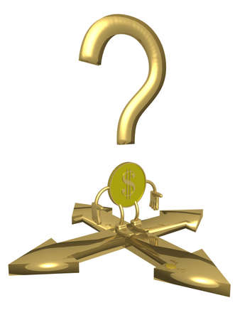 coinage: Question at a choice of a direction. 3D image. Stock Photo