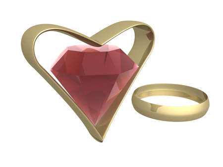 Ruby in gold heart and a ring. 3d mage. photo