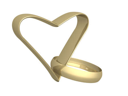 Gold heart and ring. 3d mage. photo
