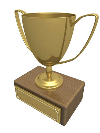 Gold cup of the winner. the 3D  image. Stock Photo - 1107070