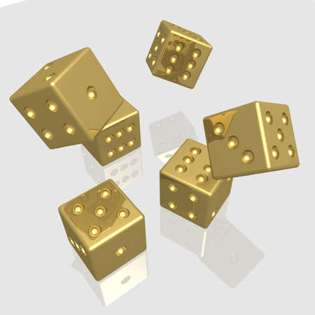 dices: Playing bones. the 3D  image with reflection.