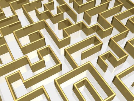 choose a path: The gold labyrinth with reflection. 3D image.