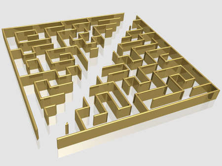 path to success: The gold labyrinth with reflection. 3D image.