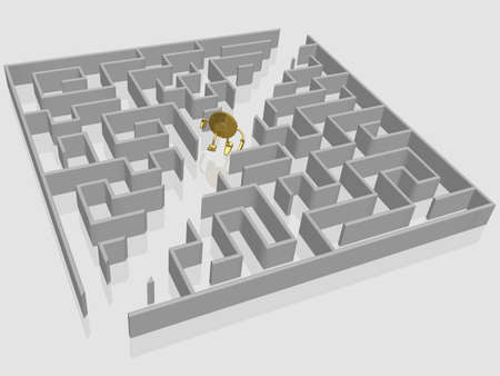 straight path: The gold dollar runs in a labyrinth Stock Photo
