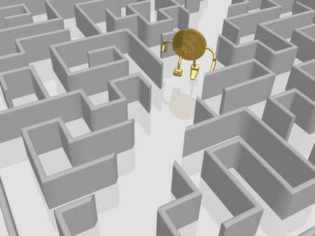 The gold dollar runs in a labyrinth photo