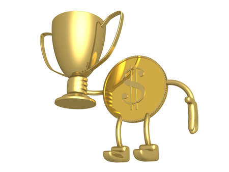 Champion cup in hands of gold dollar photo