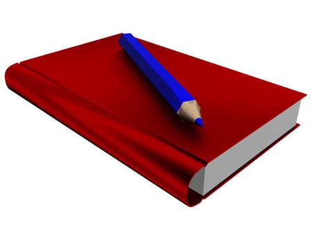 El aislado de la ilustración del libro y un lápiz. Imagen en 3D.  Foto de archivo - 1269047