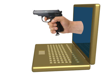 violent: Hand with a pistol put out from a laptop