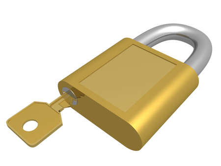 closed lock: The closed lock with key. 3D object.