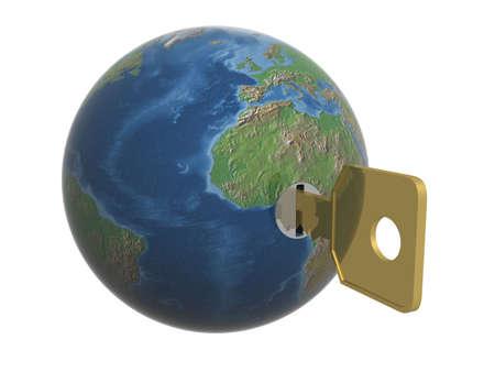closed society: Key from the world. 3D object. Stock Photo
