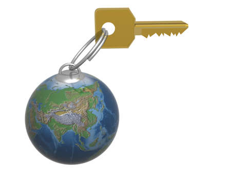 closed society: Key from the world. 3D object. Stock Photo