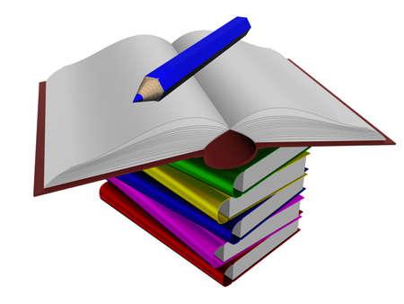Mont�n de libros y un l�piz. 3D aislado de la imagen.  Foto de archivo - 1397698