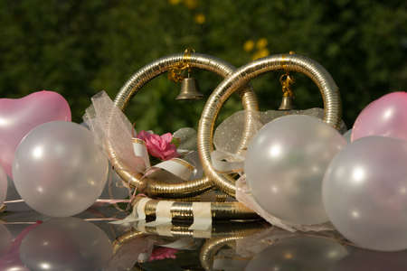 Gold wedding rings on a roof of the car photo