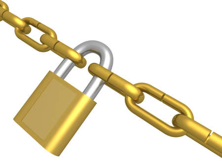 first form: Hanging circuit closed on the lock. 3D image