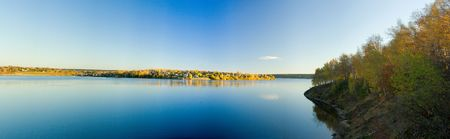 Beautiful autumn landscape. The nature. Panorama photo