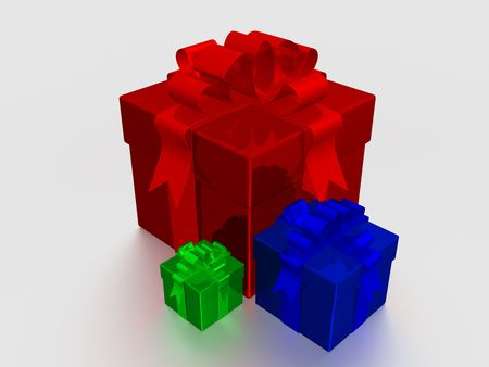Three multi-coloured gift boxes. 3D image. Stock Photo - 1999351