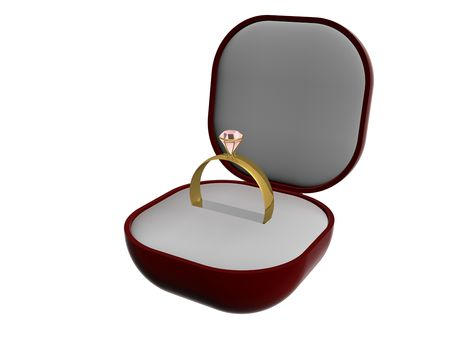 Gold ring with a stone in gift packing. 3D image. photo