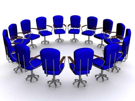 sixteen: Office sixteen armchairs standing around. 3D image.