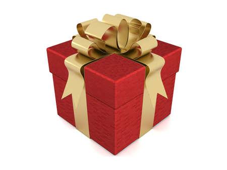 closed ribbon: Gift box. 3D image.