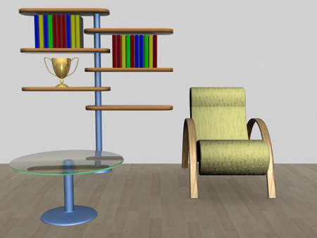 armrest: House interior. 3D image. Stock Photo