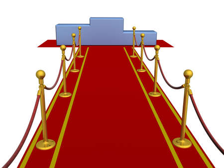 Red carpet and pedestal. 3D image. photo