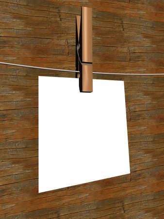 one sheet: Un foglio di carta appeso a una corda. Immagine 3D.